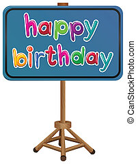 A happy birthday signboard