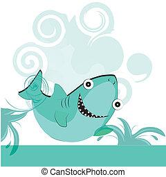 happy blue shark