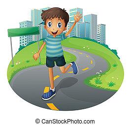 A happy boy running