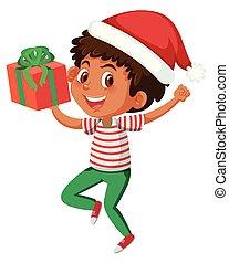 A happy boy with present box