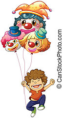A happy boy with three clown balloons