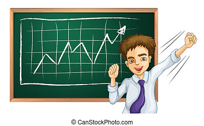 A happy businessman in front of the board