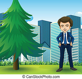 A happy businessman standing near the pine tree