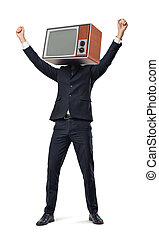 A happy businessman with arms raised in victory motion wears an old TV set instead of his head.