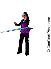 A happy businesswoman exercising with a hula- hoop -...