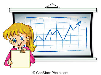 A happy businesswoman reporting their sales - Illustration ...