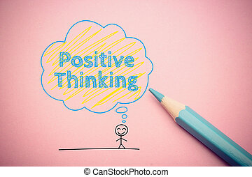 Positive thinking - A happy cartoon man with Positive ...