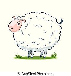 happy cartoon sheep