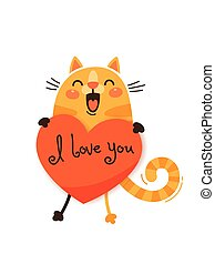A happy cat with a valentine and message I love you. Vector illustration in cartoon style