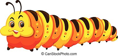 A happy caterpillar on white background