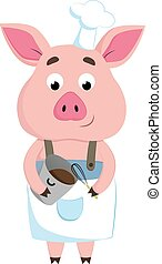 A happy chef pig, vector or color illustration.