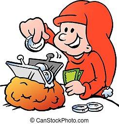 A Happy Christmas Elf saving money - Happy Christmas Elf...