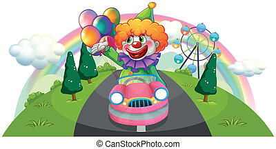 A happy clown riding in a pink car