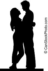 a happy couple holding each other, silhouette vector illustration