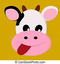 A happy cow, vector or color illustration.