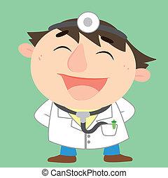 a happy doctor, vector illustration