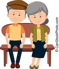 A happy elderly couple on white background