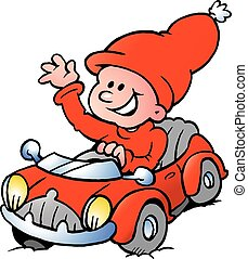 A Happy Elf driving in a red car - Happy Christmas Elf...