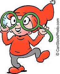 A Happy Elf with big green glasses