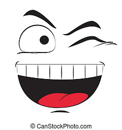 facial expression - a happy facial expression on a white...
