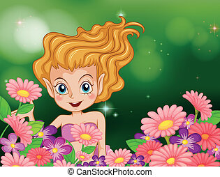 A happy fairy at the garden with colorful flowers