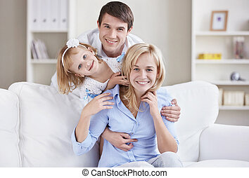 A happy family at home - Portrait of a happy family home
