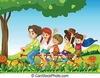 A happy family biking