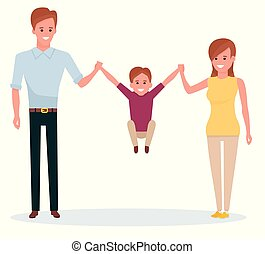 A happy family on white background. Mother, father, son. Cartoon flat vector illustration