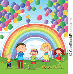 A happy family under the floating balloons with a rainbow