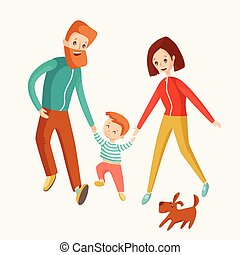 A happy family walks together. Mom, Dad and son go ahead with th