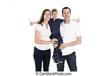 A Happy family with his blond boy isolated on white background