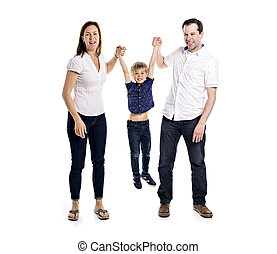 Happy family with his blond boy isolated on white background