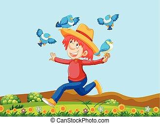A Happy Farmer with Birds