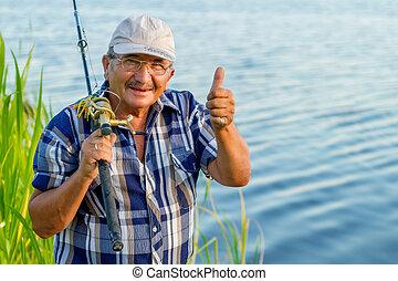 a happy fisherman