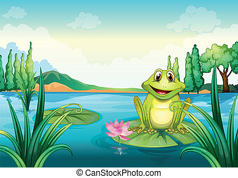 A happy frog above a water lily - Illustration of a happy...