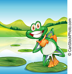 A happy frog standing above the waterlily