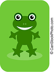 a happy green frog on a green backg