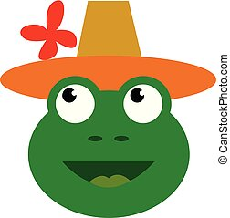 A happy green frog wearing a brown-orange top hat with red flower decoration vector color drawing or illustration