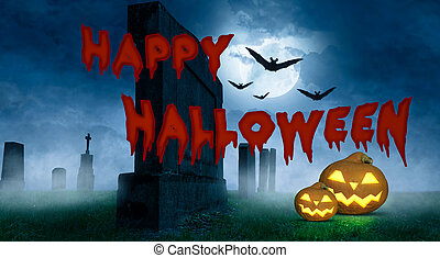 happy halloween greeting card with pumpkins on a cemetery