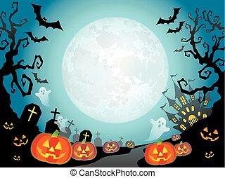 A Happy Halloween seamless landscape.