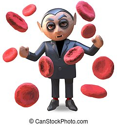 A happy Halloween vampire dracula surrounded by giant blood cells, 3d illustration