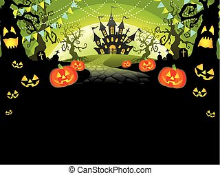 A Happy Halloween vector illustration with text space. (without sample text)