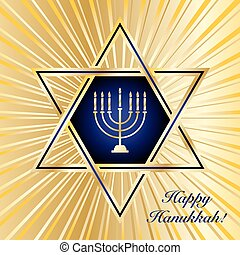 A Happy Hanukkah card template in blue and gold. EPS10 vector format