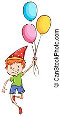 A happy kid with balloons