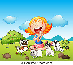 A happy lady with her pets