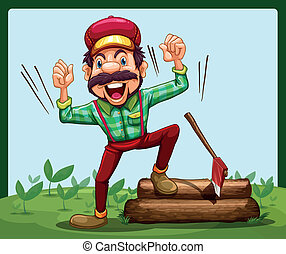 A happy lumberjack stepping on a log with axe - Illustration...
