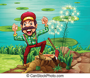 Illustration of a happy lumberjack stepping on a stump at the riverbank