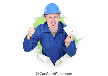 A happy manual worker.