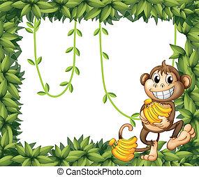 A happy monkey holding bananas
