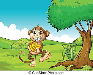 A happy monkey with bananas